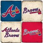 Atlanta Braves Italian Marble Coasters with Wrought Iron Holder