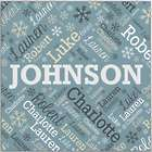 """Personalized Family Name Word-Art 16"""" Square Canvas"""