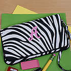 Embroidered Zebra Print Pencil Case