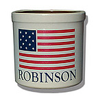 Personalized Natural Ivory American Flag Crock