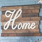 Home Text Art on Rustic Wood Background
