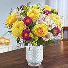 Large Beaming Sunshine Bouquet in White Mosaic Vase