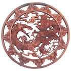 "Battle of Legends 15"" Round Wood Wall Relief Panel"