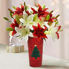 Holiday Lilies Double Bouquet and Vase