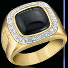 Men's Diamond Distinction and Onyx Gold Plated Band Ring