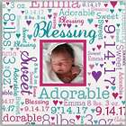 """Baby Photo 16"""" Word-Art Square Canvas"""