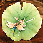 Dragonfly on Lotus Leaf Clock