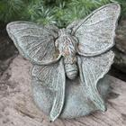Handcrafted Cast-Stone Lunar Moth Garden Statue