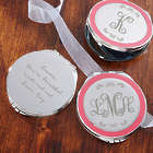 Monogrammed Pink Trimmed Compact Mirror with Engraving