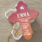 In Happy Moments Praise God Personalized Cross Trinket Box