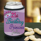 Personalized 21st Birthday Princess Can Wrap Koozie