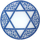 Blue & White Star of David Hanukkah Round Glass Platter