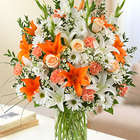 Sincerest Sorrow Peach, Orange and White Floral Arrangement