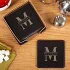 Oakmont Engraved Faux-Leather Coaster Set
