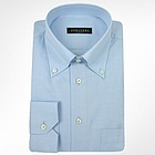 Solid Light Blue Cotton Button Down Dress Shirt