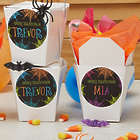 24 Personalized Halloween Spider Web Sticker & Treat Boxes
