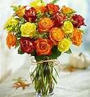 18 Elegance Premium Long Stem Autumn Roses Bouquet