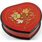 Red Heart Shaped Jewelry Box with Floral Inlay