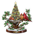 A Merry Little Christmas Tabletop Tree with Sculpted Cardinals