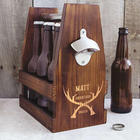Groomsman's Personalized Craft Beer Carrier with Antlers Design