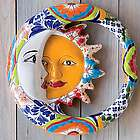 Talavera-Inspired Ceramic Eclipse Wall Accent