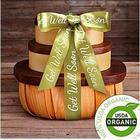 Organic Fruit and Snack Gift Tower with Get Well Ribbon