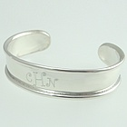 Child's Sterling Silver Engraved Rimmed Cuff Bracelet