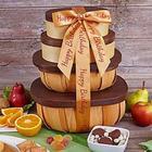 Organic Fruit and Snacks 4 Box Happy Birthday Gift Tower