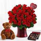 The Ultimate Romance Collection with Roses, Chocolates and Teddy