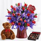 Ultimate Deluxe Hugs & Kisses Bouquet, Chocolates and Teddy Bear