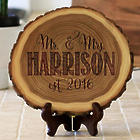 Established as Mr. & Mrs. Personalized Engraved Wood Slice Plaque