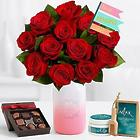 Ultimate Mom's Red Roses Bouquet with Chocolates & Spa Set