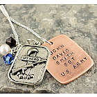 My Hero Military Personalized Hand Stamped Necklace or Keychain