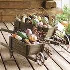 Small Solid Wood Wheelbarrow Planter Garden Decoration