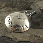 Grandma's Personalized Heart Locket Necklace in Sterling Silver