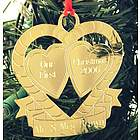 Personalized Our First Christmas Double Heart Ornament