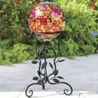 Brightly Tiled Metallic Gazing Ball with Stand