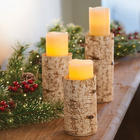 Birch Pillar Candle Holder Trio