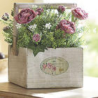 Cabbage Rose Bouquet in Wood Box