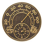 Sun and Wind Indoor or Outdoor Wall Clock and Thermometer