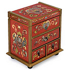 Crimson Heart Flowers Painted Glass Jewelry Box