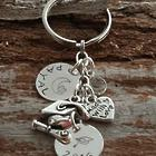 Graduate's Personalized Key Chain with Heart Charm