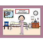 Personalized # 1 Nurse in Scrubs Cartoon Print