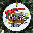 Personalized Ceramic Motocross Ornament