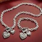Double Heart Charm Pendant or Bracelet