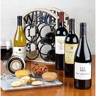 4 Bottles of Wine with Bistro Wine Rack & Gourmet Gift Set
