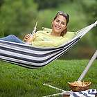 Navy Stripe Canvas Hammock with Carrying Bag