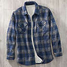 Men's Fleece Sherpa Lined Flannel Shirt Jacket