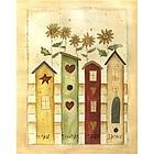 Birdhouses & Sunflowers I Fine Art Print