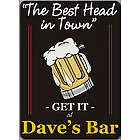 Best Head in Town Personalized Wall Sign